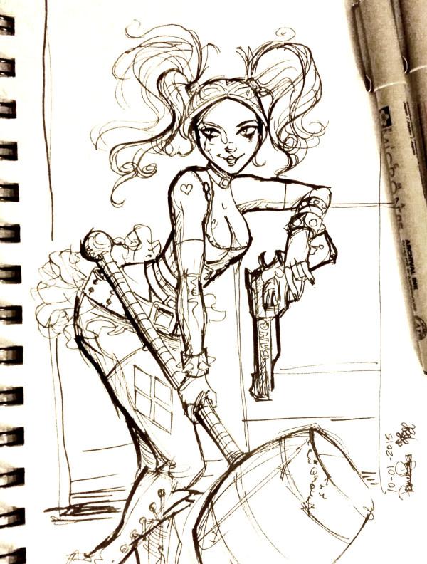 Inktober Day 1 - Harley Quinn