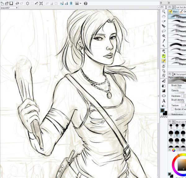 Clip Studio Paint WIP Lara Croft